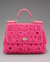 Dolce & Gabbana Miss Sicily Crocheted Straw Handbag