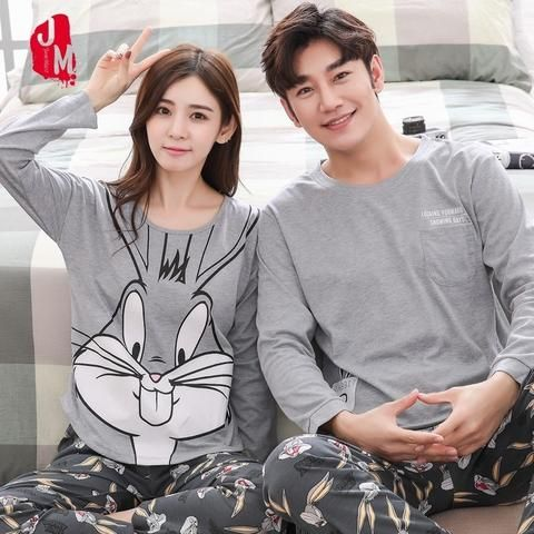d458ac343b Couple Pajamas Set Spring And Autumn 100% Cotton Cartoon Women Pyjamas Plus  Size M-