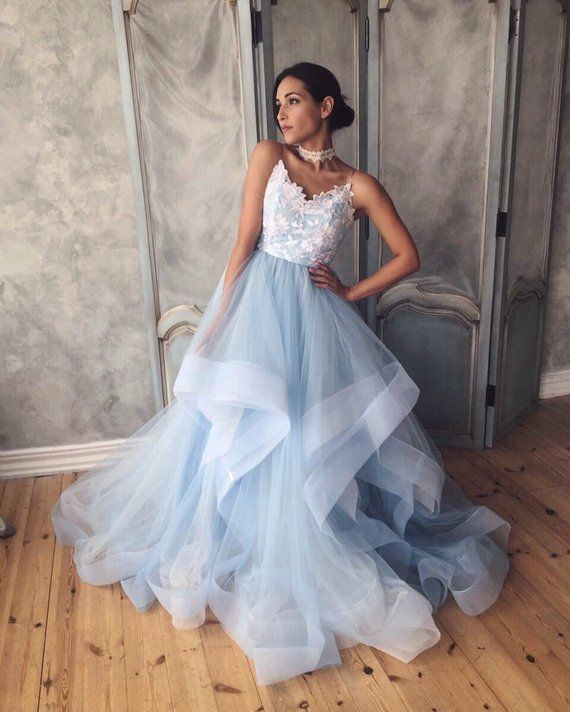 unique blue wedding dress with ombre skirt open back and