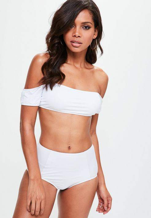 334d9efeb3 Missguided White Bardot Bikini Top - Mix   Match