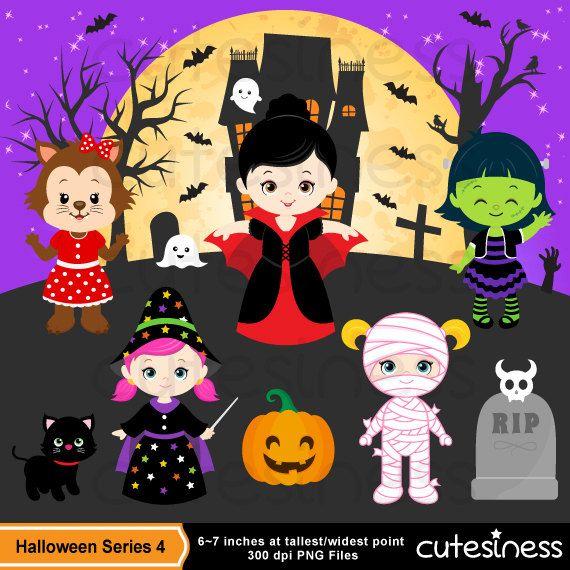 Halloween Digital Clipart 4 24 Graphics Best Value Package Included Halloween Digital Halloween Clipart Cute Halloween