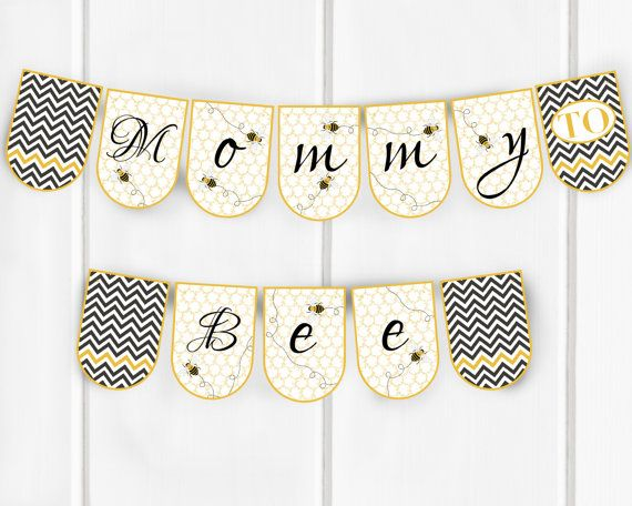Mommy To Bee Banner Baby Shower Banner Bee Themed by JessieKdesign