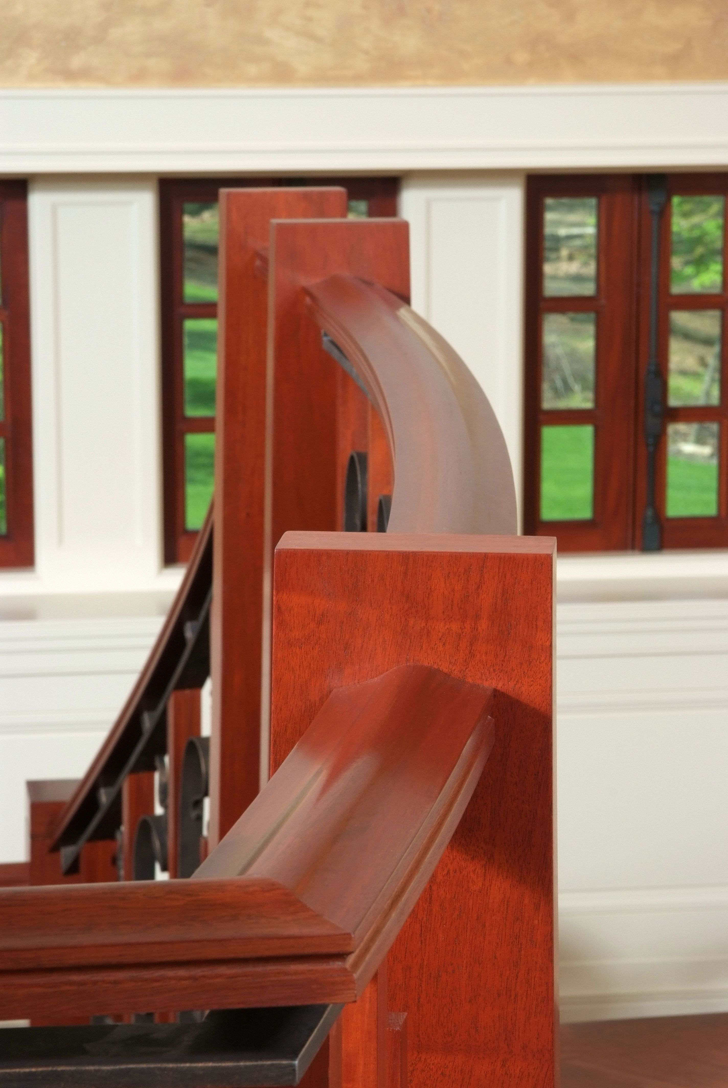 Best Custom Craftsman Mahogany Handrail And Newel Post Hardwood Stairs Red Oak Stair Parts 640 x 480