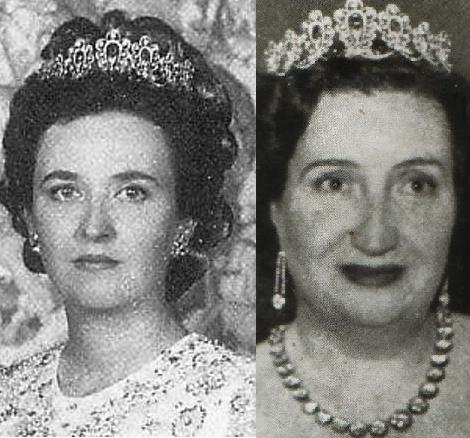 La Infanta Pilar y su madre Dña. Maria con la tiara de zafiros.  Esta tiara proviene de la familia de Dña Maria y que fue la que lucio  Laura Ponte,en su boda con Don Luis Gómez-Acebo de Borbón, hijo de la infanta Pilar