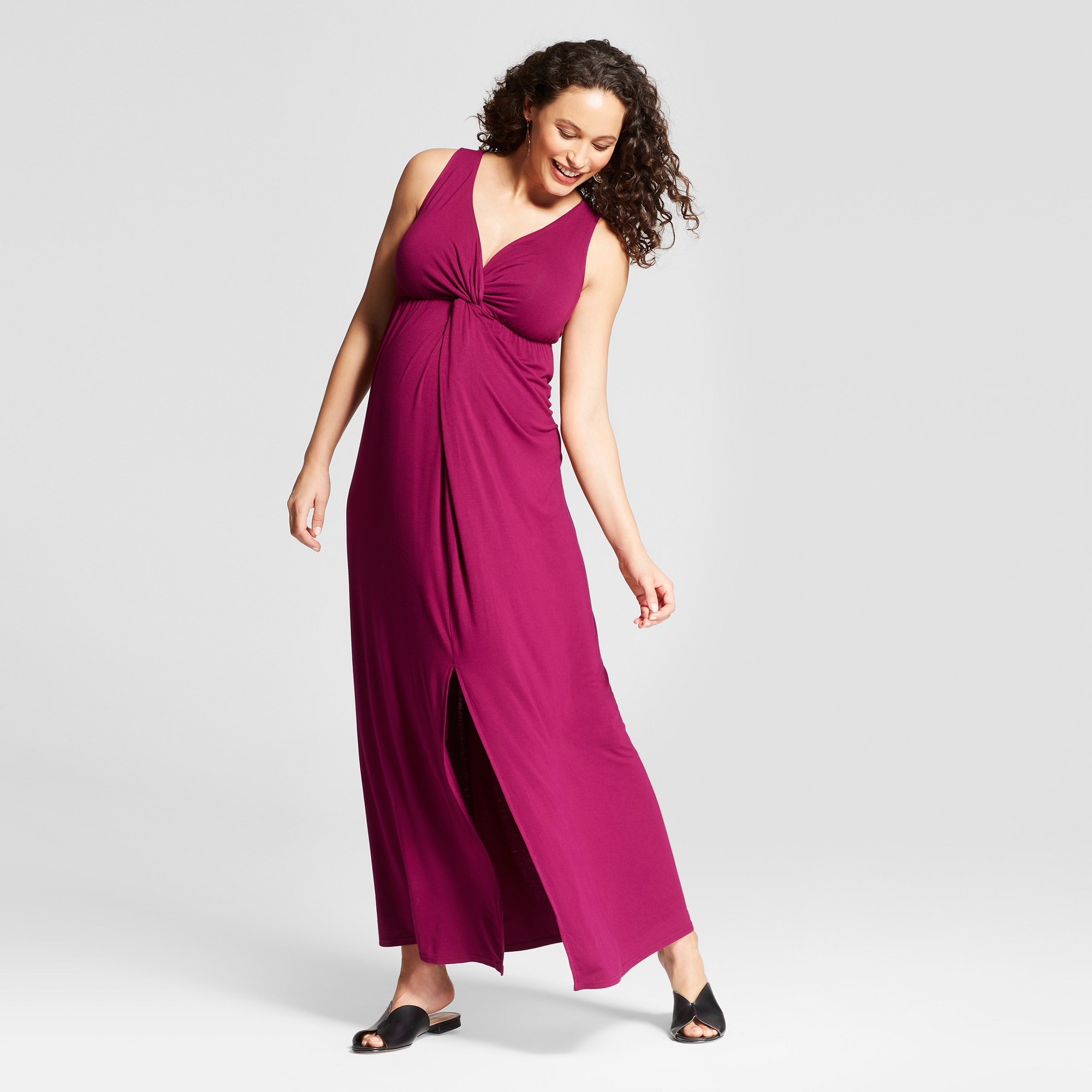 3a035ad41c5 Maternity Knit Crossover Maxi Dress - Isabel Maternity by Ingrid   Isabel  Forever Berry XS