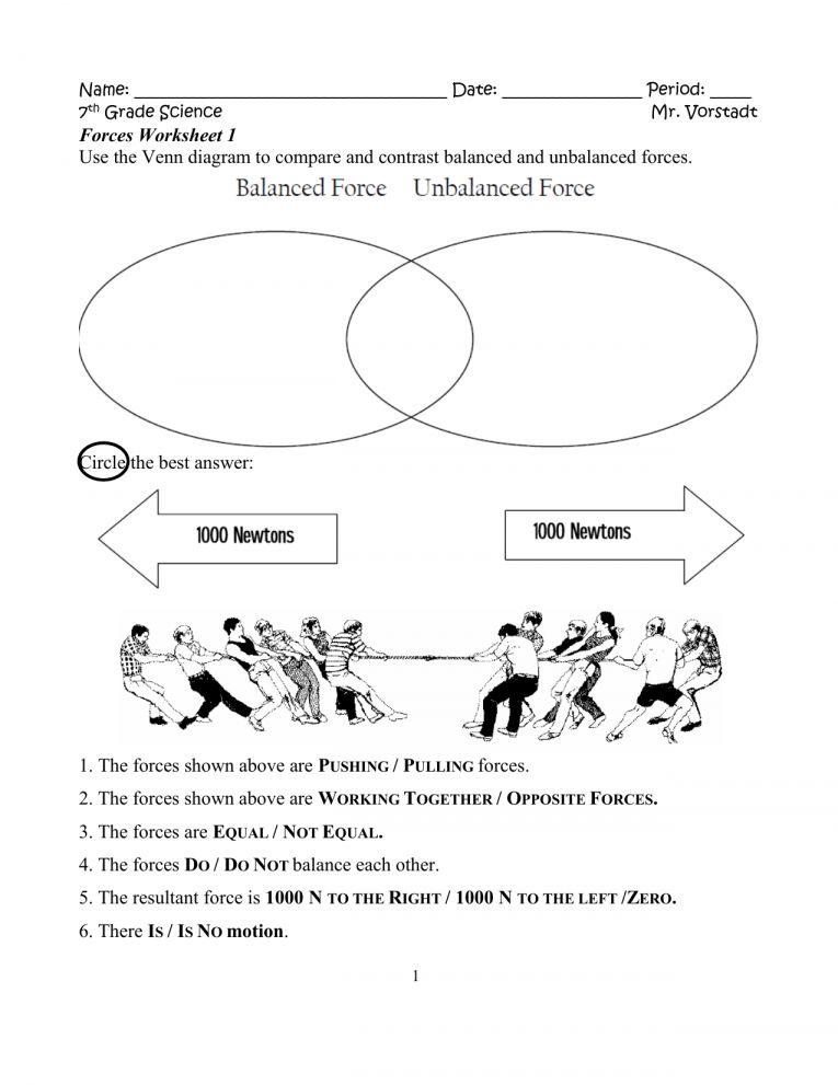9+ Science Forces Worksheet - - # ...