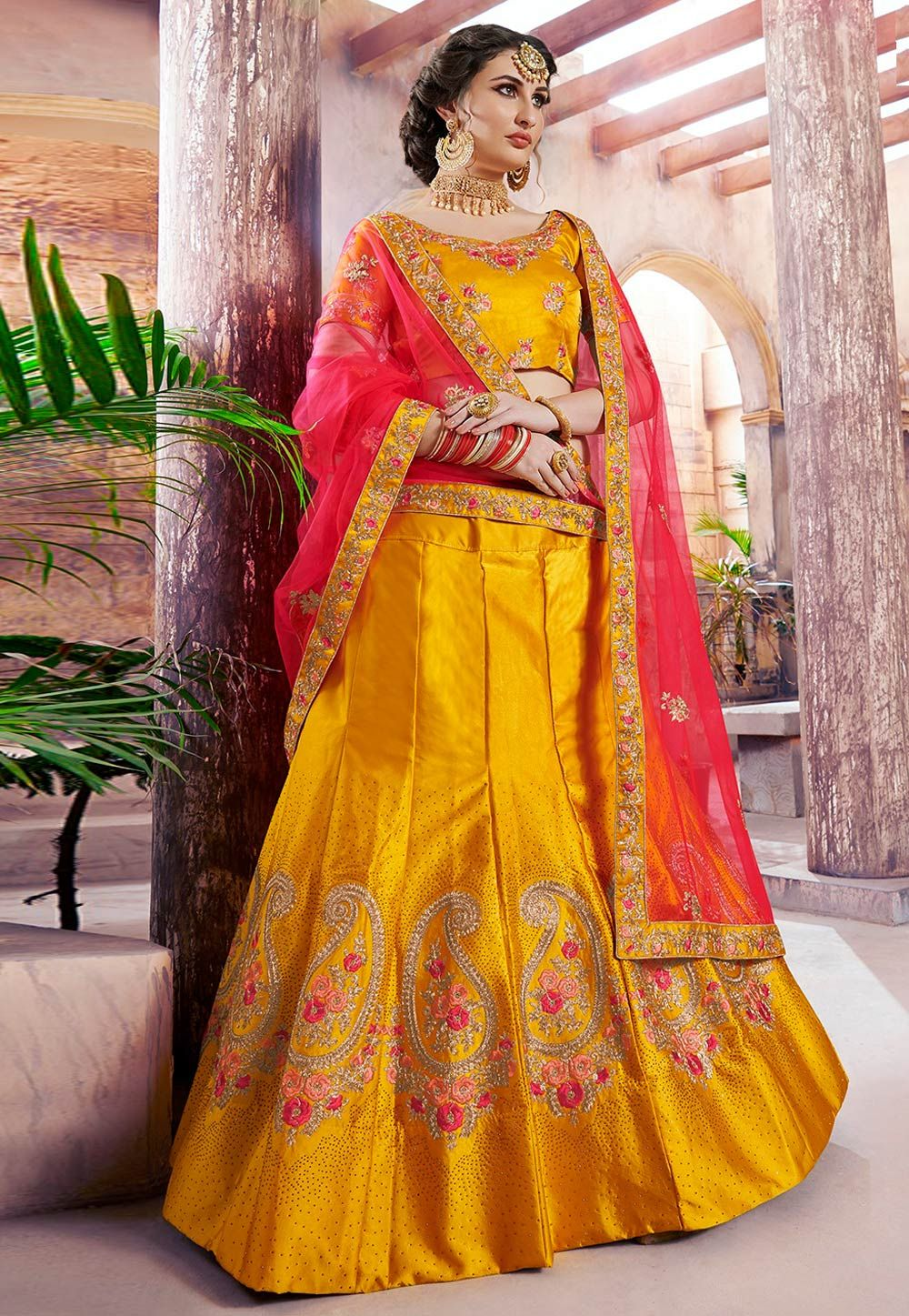 f24ff73a34 Yellow satin circular lehenga choli 4003 in 2019 | Bridal-Lehengas ...