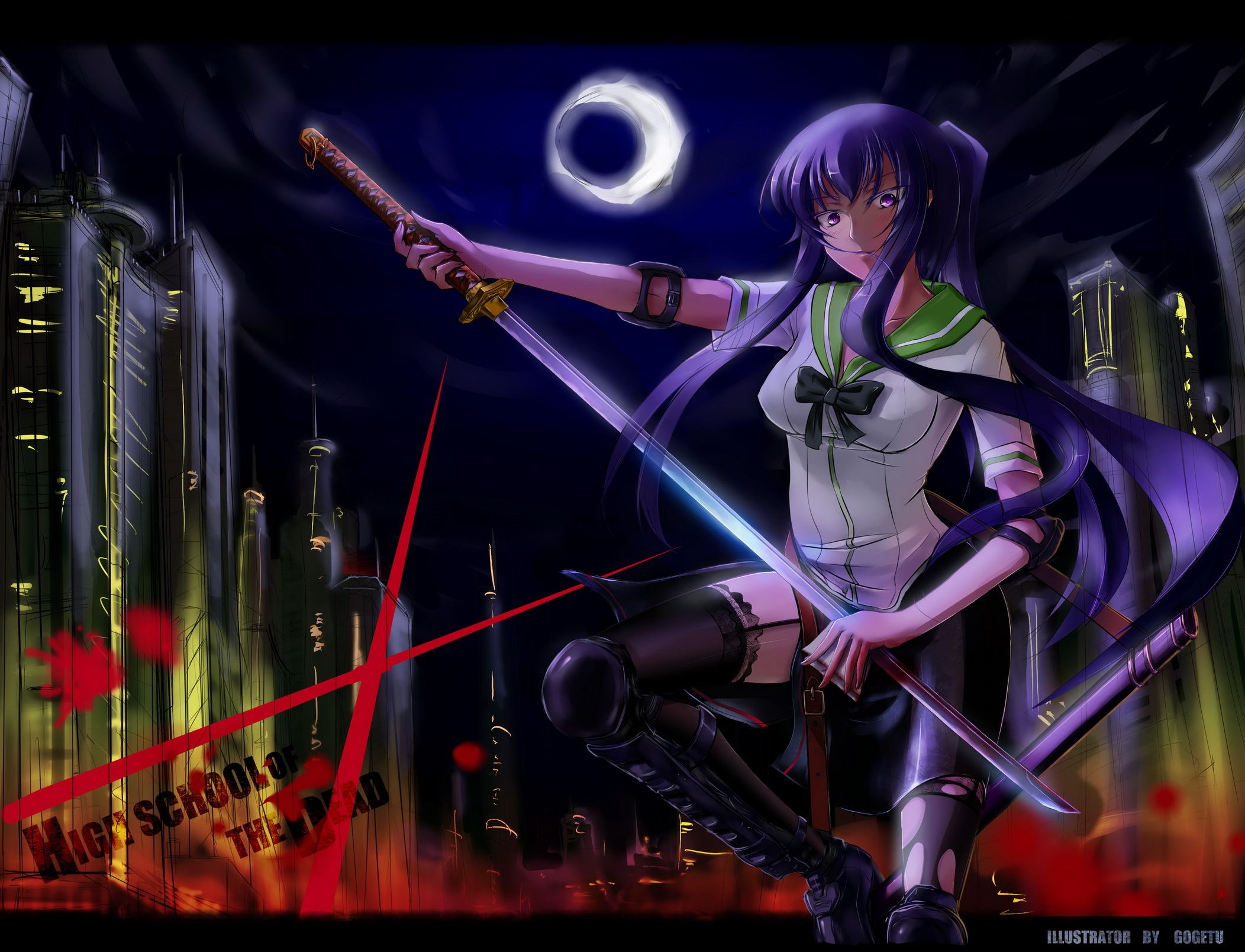 Anime Highschool Of The Dead Saeko Busujima Katana Purple Hair