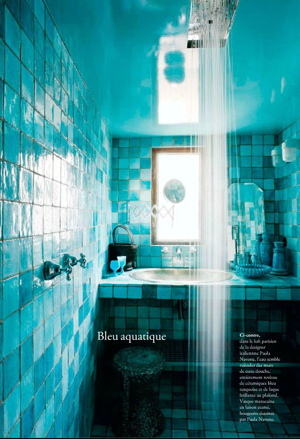 Moroccan Style Bathroom With Turquoise Blue Tiles Paint