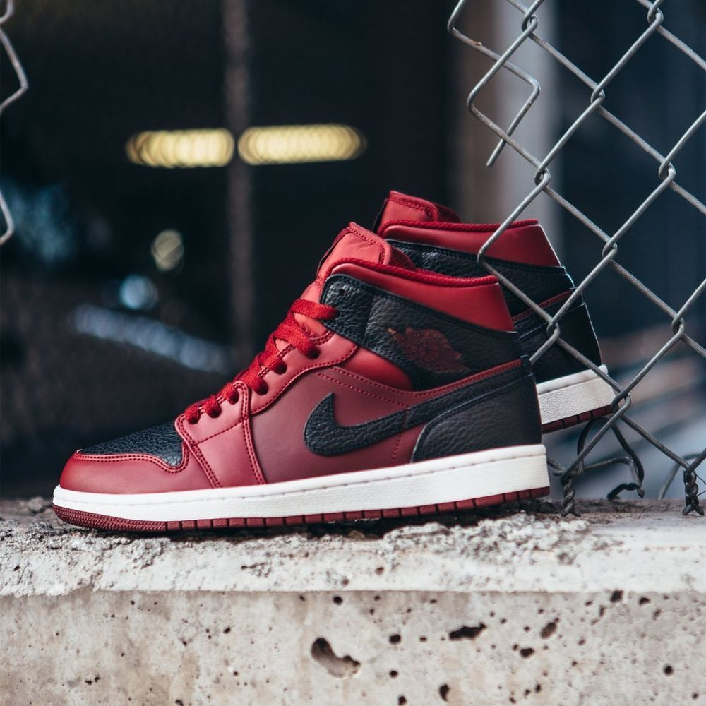 852f9c52f450ce Nike Air Jordan 1 Mid Team Red Black-White Men s Basketball Shoes 554724-601  NEW