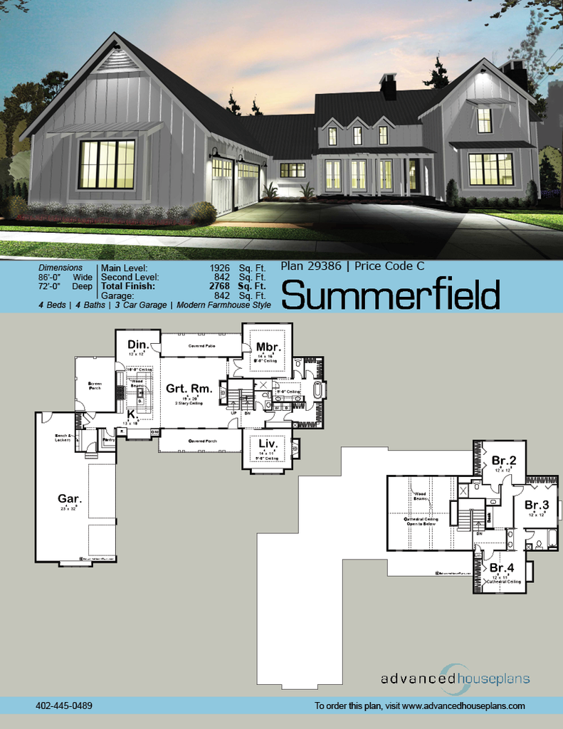 29386 Summerfield The Great Expanses Of This L Shaped 1 5 Story Modern Farmhouse Plan Are Highlig Farmhouse Style House L Shaped House Plans Farmhouse House