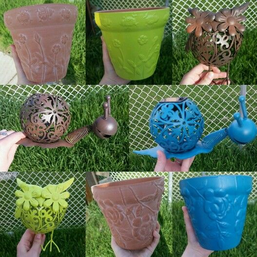 Dollar store pots and garden decor spray painted by me!