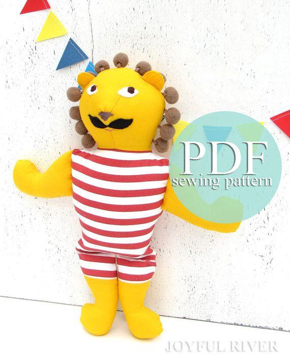 Stuffed toy circus lion sewing pattern PDF Lion by JoyfulRiver ...