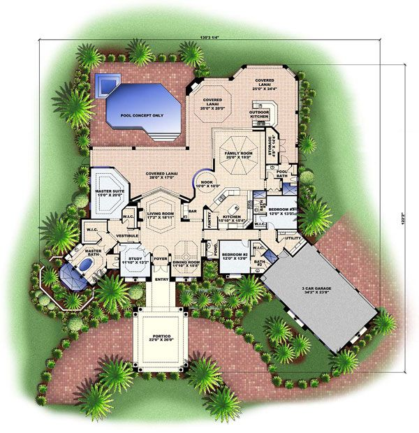 Tuscan house plan chp 28697 at driveway for Coolhouseplans com