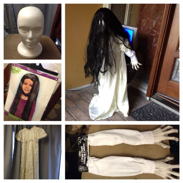 Very scary Halloween decoration inspired by  The Ring  -White foam head -Witch Wig -Childu0027s white dress -Arms from Party City -Old Television -Traffic cone ...  sc 1 st  Pinterest & 76872636be7b2afe8d64dc4c2fb07803.jpg (736×736) | Halloween ...