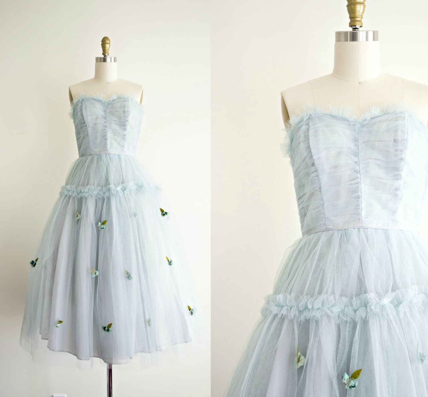 S prom dress vintage tea length tulle strapless dusty blue