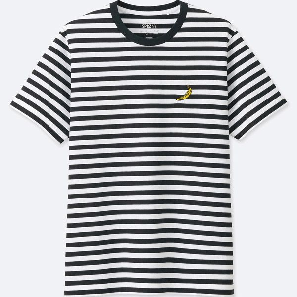 712883251b57b9 Not many officially licensed Andy Warhol items come cheap. But this Andy  Warhol striped t-shirt at Uniqlo certainly does. There s a Jean-Michel  Basquiat and ...
