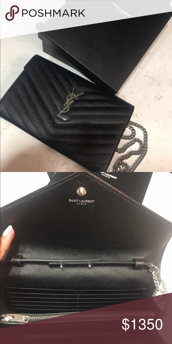 ecf9e1bb14f0 YSL Wallet on a chain Clutch. Brand New! Saint Laurent matelassé grained  leather