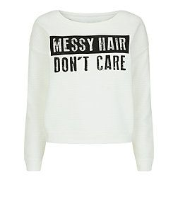Teens Cream Ribbed Messy Hair Sweater £14.99