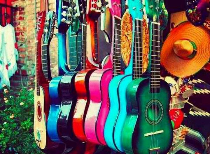 Love these colorful guitars.