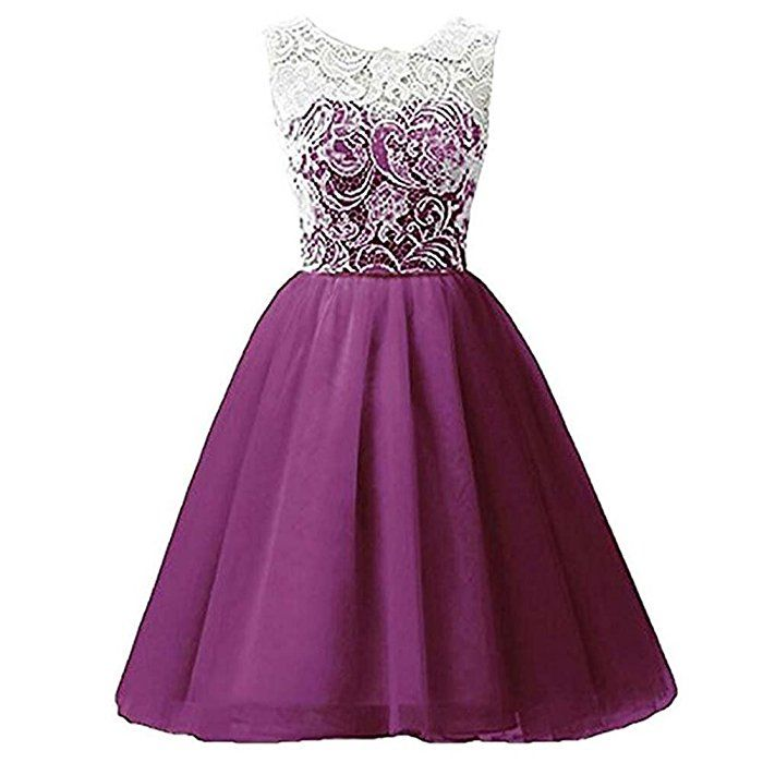 Free fisher-Short Lace Chiffon Girls Prom Party Gown Bridesmaid ...