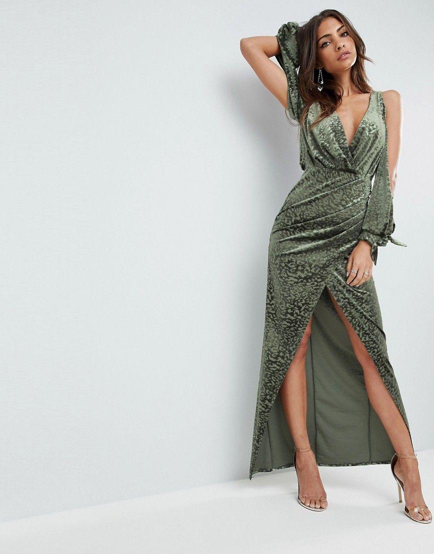 88294348ce4 ASOS Cold Shoulder Velvet Animal Devore Maxi Dress - Green ...