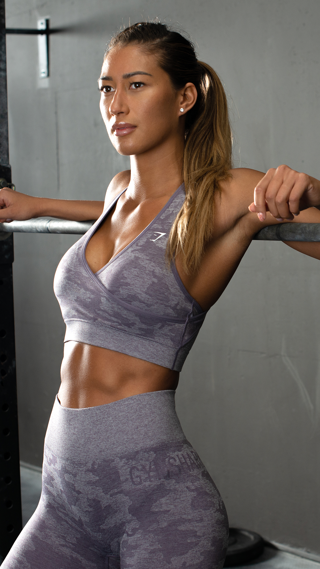 Hangin At The Bar With Karina Wearing The Camo Seamless Lavender