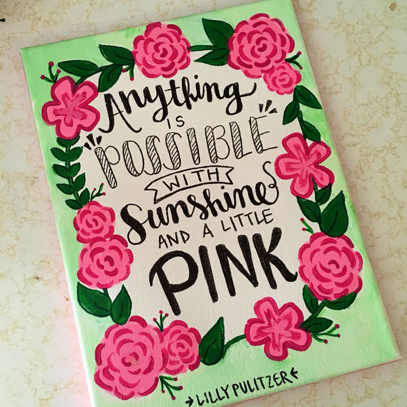 Lilly Pulitzer Sunshine and Pink Canvas Quote   Cuadro, Cuadros de ...
