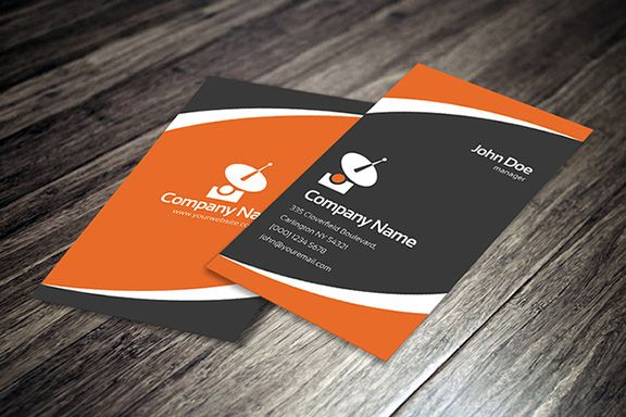 black and orange creative corporate business card template printable version available for free download as psd or eps file