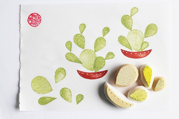 Cactus Rubber Stamp Mexican Plant Stamps Hand Carved Garden Gardening Card Making Birthday Projects Set Of 5