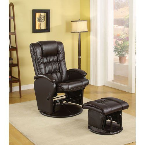 Coaster Rimini Euro Faux Leather Glider Recliner And Ottoman Set In Brown Coaster Home Furnishings Http Ww Glider And Ottoman Recliner With Ottoman Furniture Leather glider recliner with ottoman
