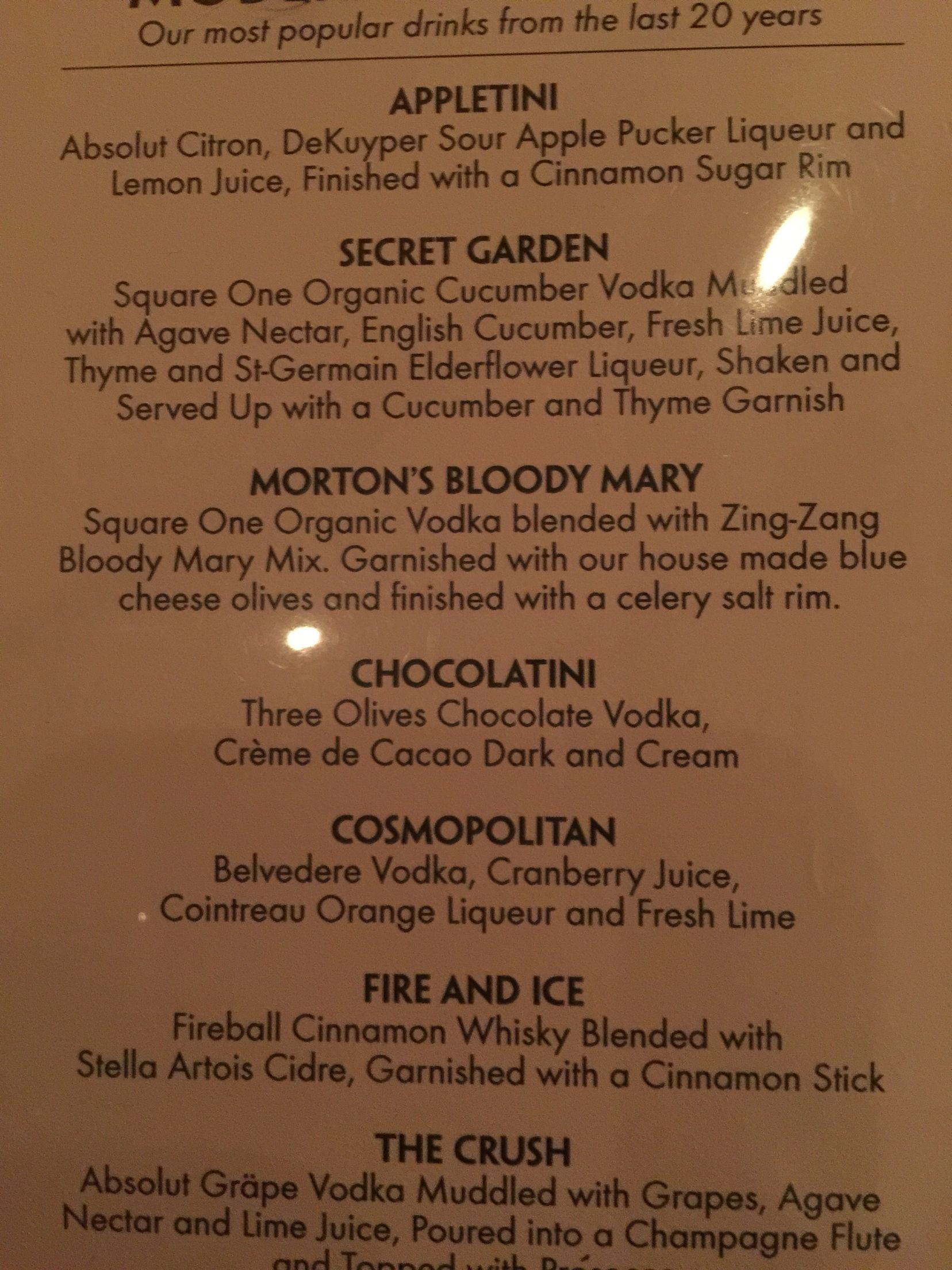 Mortons steak house drink menu. Secret Garden and the Fire & Ice are ...