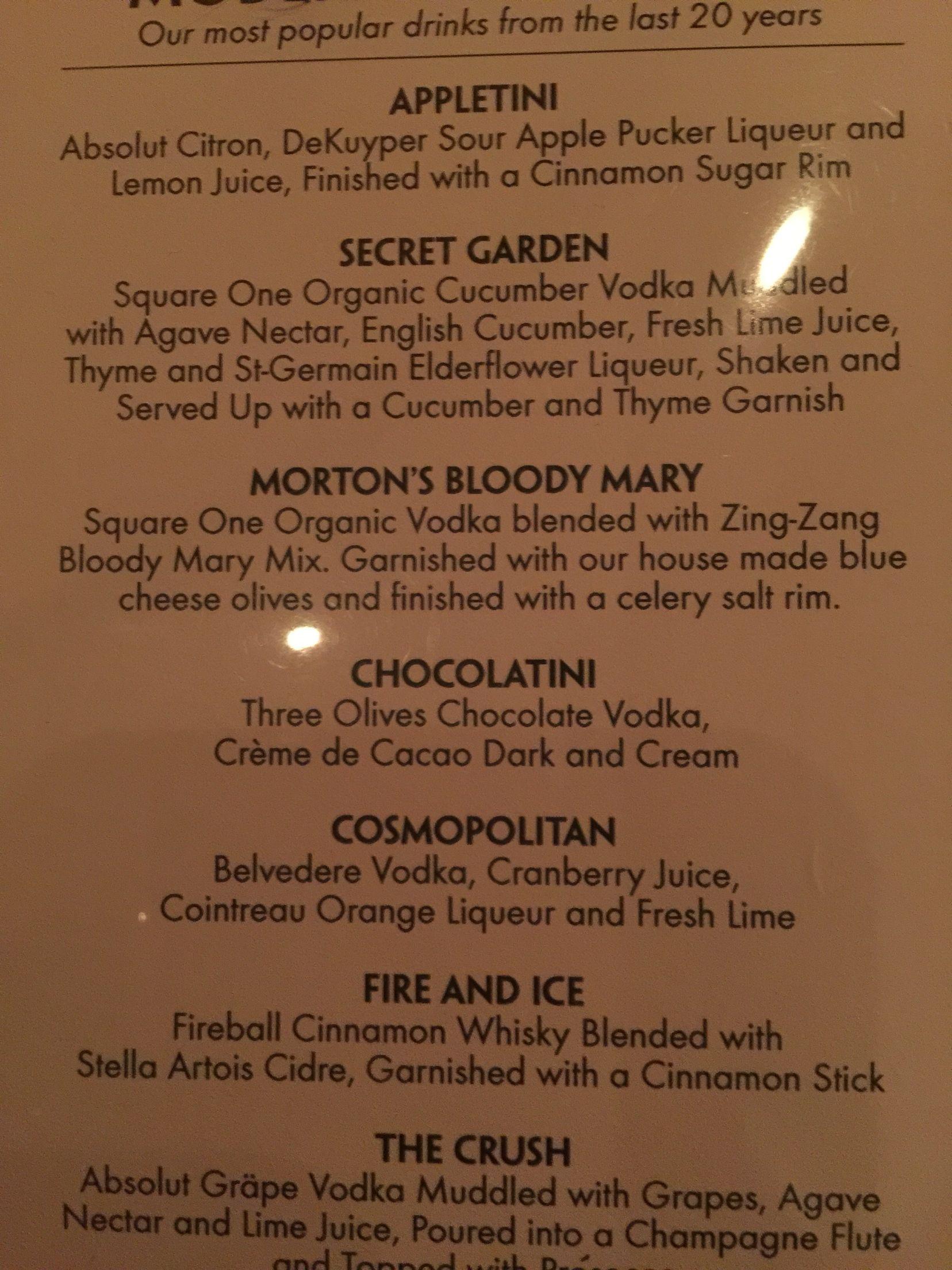 Mortons steak house drink menu. Secret Garden and the Fire