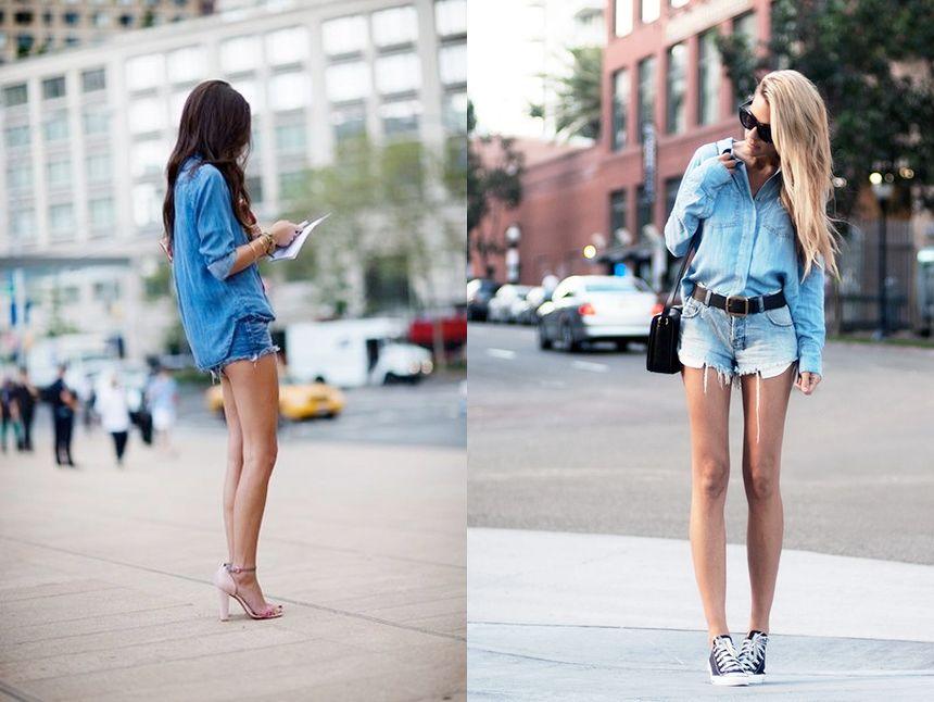 denim shirt + shorts