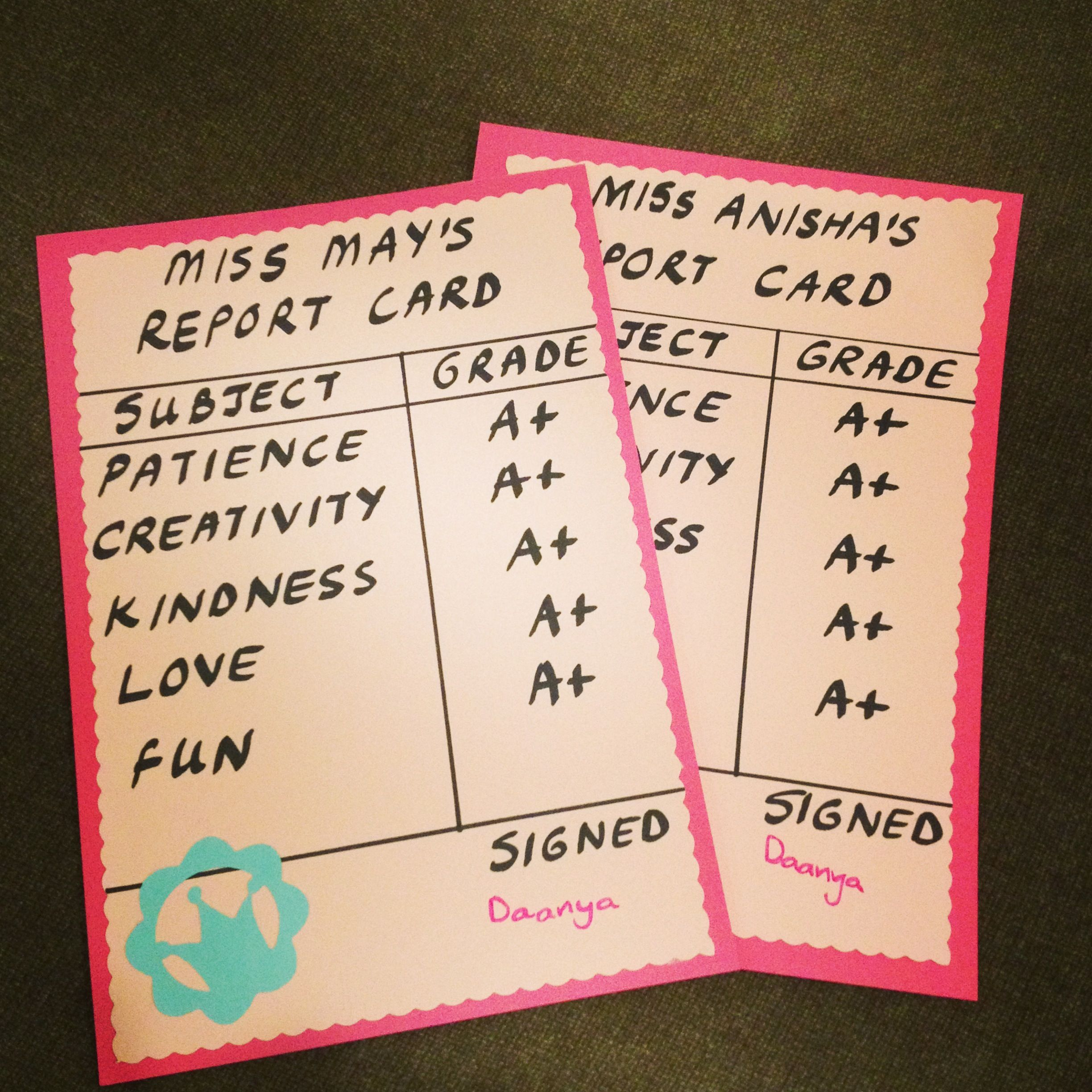 We Made These Sweet Report Cards For The Teachers On The