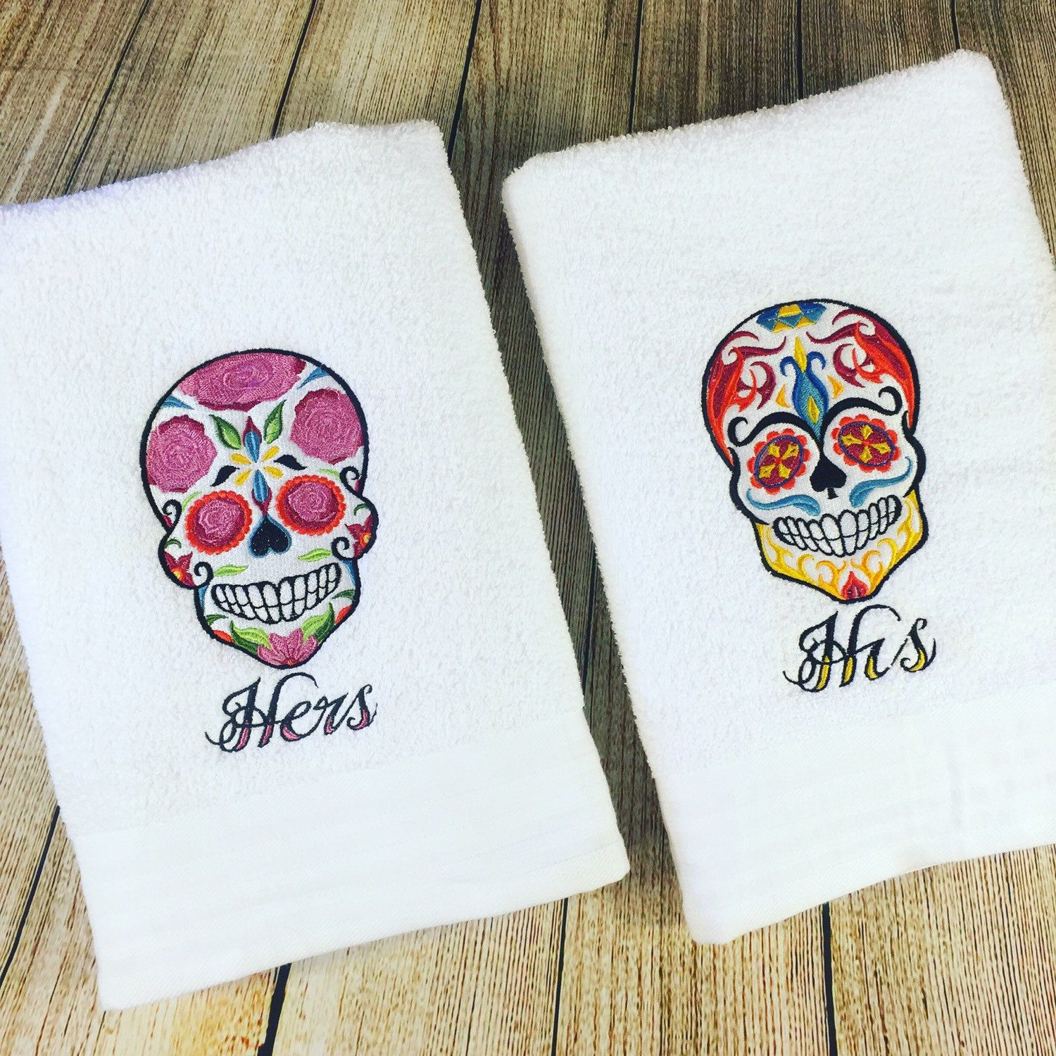 His And Hers Bath Towels Sugar Skull Towels Wedding Gift Set