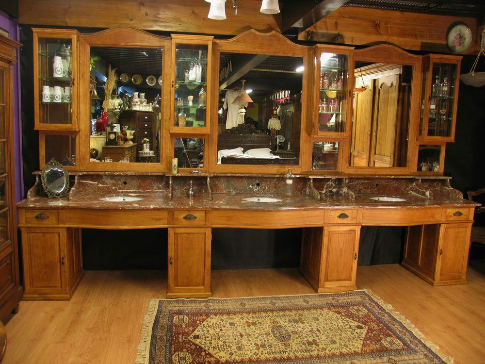 Grand meuble de barbier coiffeur ancien m tier salle bain for Ancien meuble de salle de bain