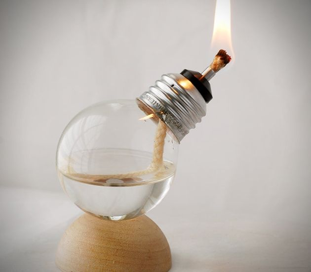 Miniature Recycled Oil Lamps Made From Light Bulbs
