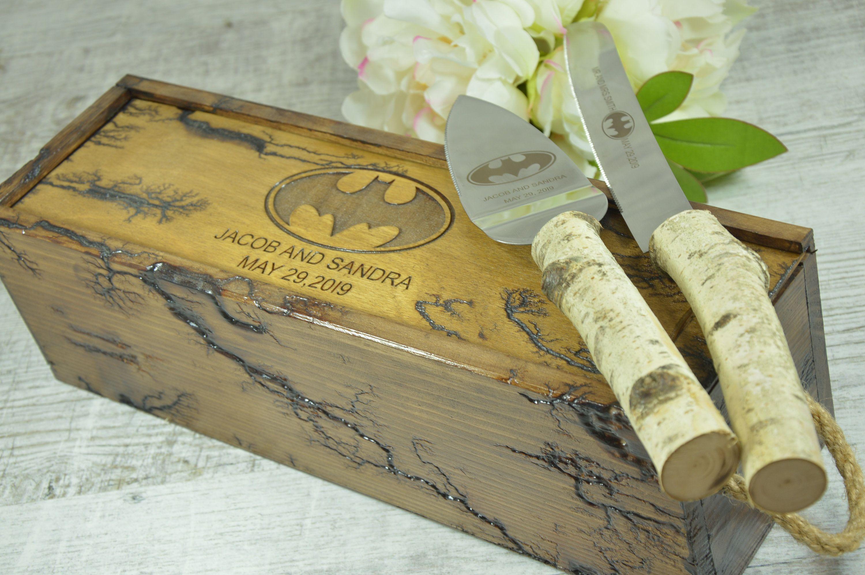 Black engraved wedding cake knife and serving set disney
