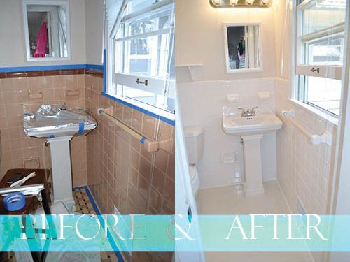 Painted Tile Before And After With Images Bathroom Makeover