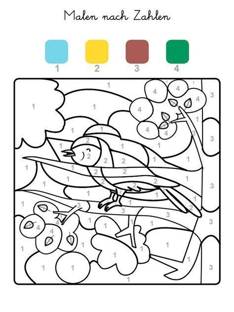ausmalbild malen nach zahlen: vogel ausmalen kostenlos