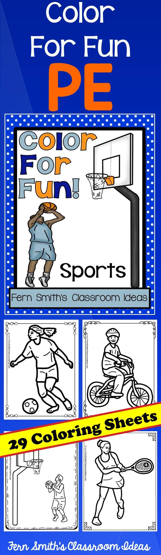 Coloring Pages for PE and Sports - PE Sports Fun! Color For Fun ...