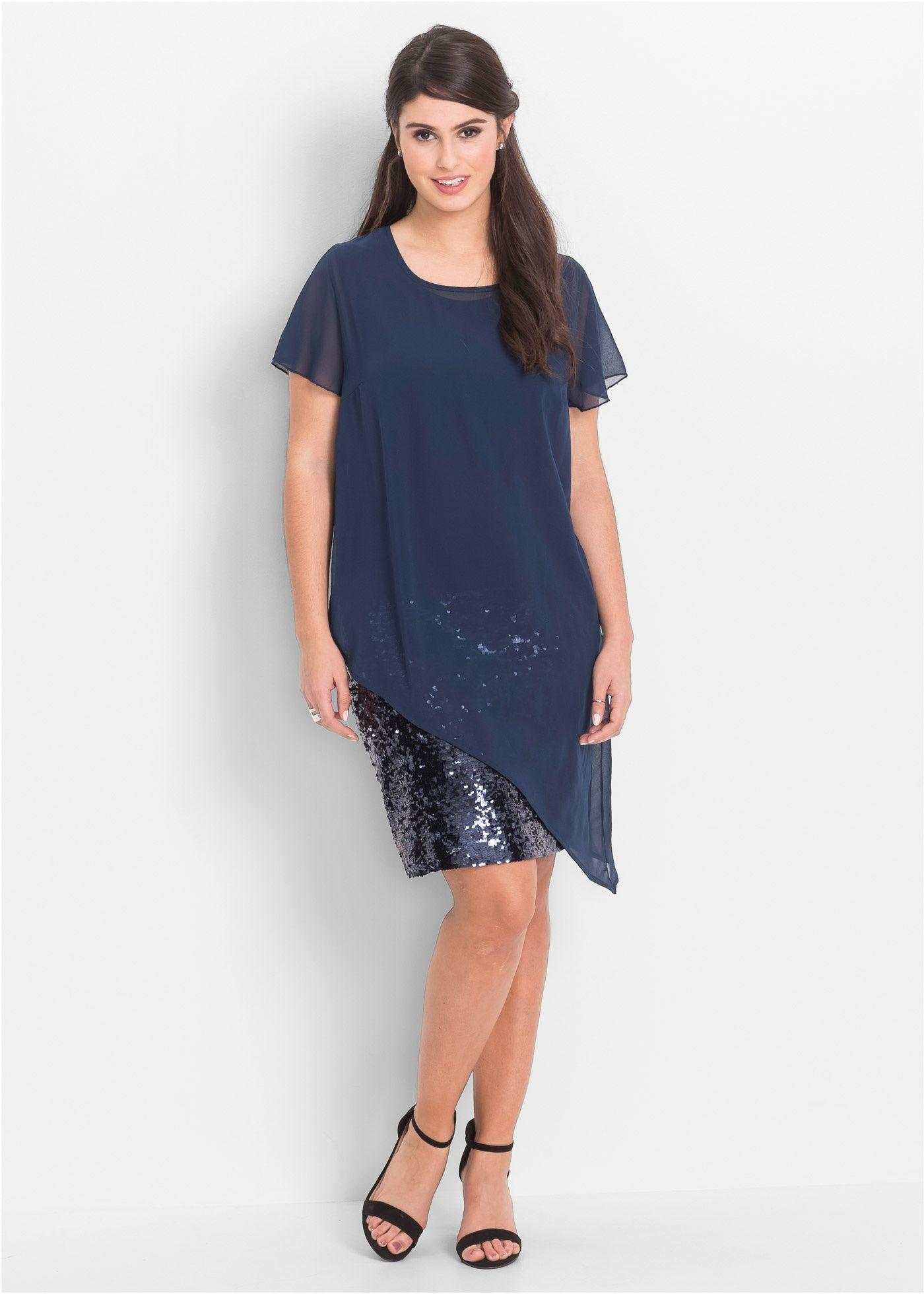 Schickes Kleid in Doppel-Lagen-Optik | Pailletten, Cocktails und ...