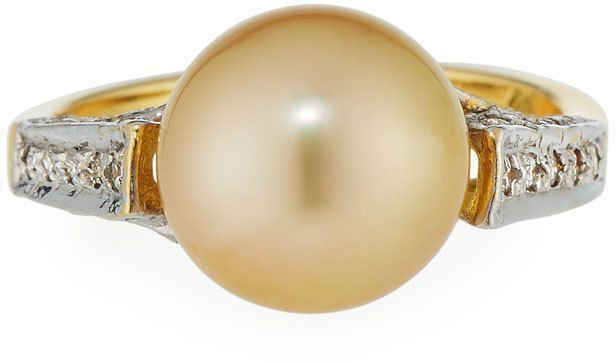 Belpearl 18k Golden South Sea Pearl Ring, Size 7.25