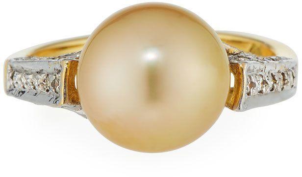 Belpearl 18k Diamond & Golden South Sea Pearl Ring, Size 6.75