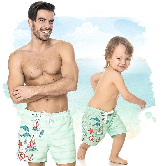 6c324a5601 Matching Father And Son Swimsuit, Sailor Shorts, Mens Green Trunks, Matching  Set Of Shorts, Daddy And Me Bathing Suit, Matching Swimwear