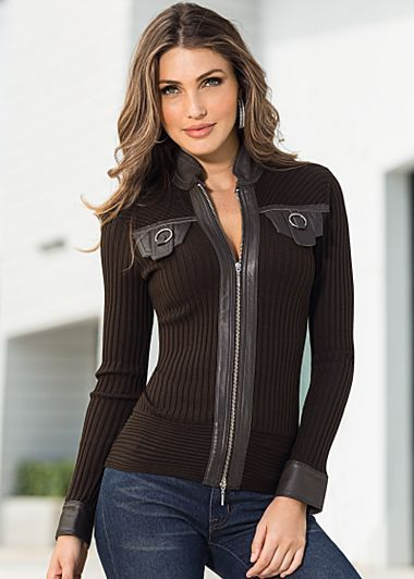 Ribbed sweater jacket by VENUS available in sizes XS - XL ...