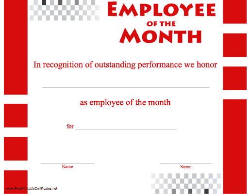 an employee of the month certificate recognizing outstanding