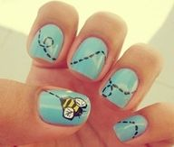 Blue Nails with Bee