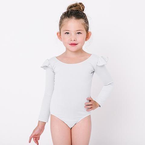 66c2adbfe8de8 White Toddler & Girls Long Sleeve Ruffle Ballet Dance Leotard in ...